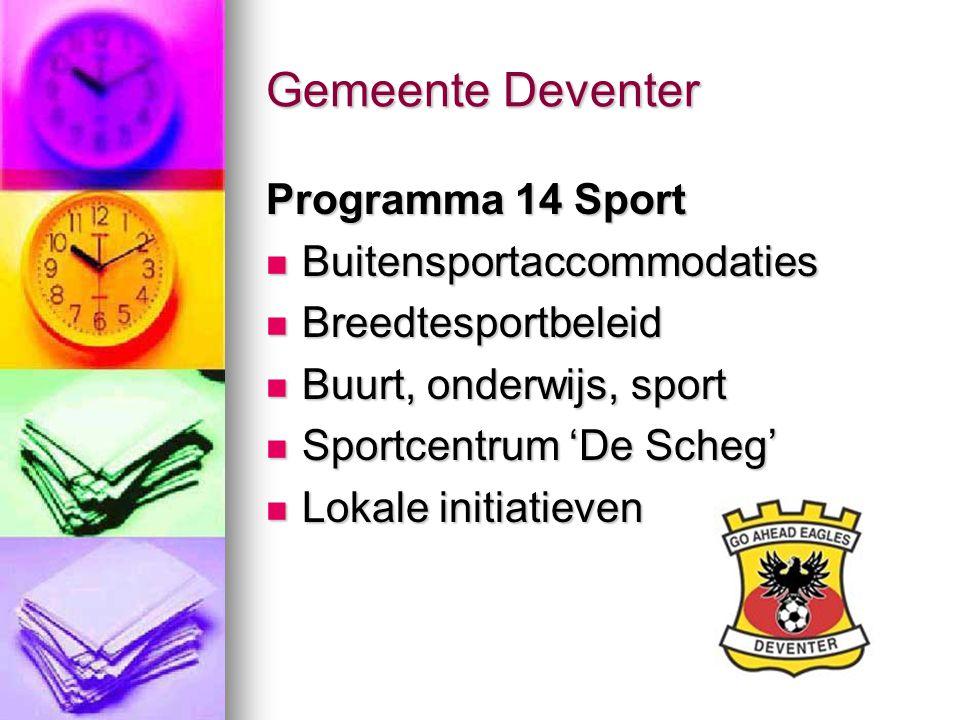 Gemeente Deventer Programma 14 Sport Buitensportaccommodaties Buitensportaccommodaties Breedtesportbeleid Breedtesportbeleid Buurt, onderwijs, sport B