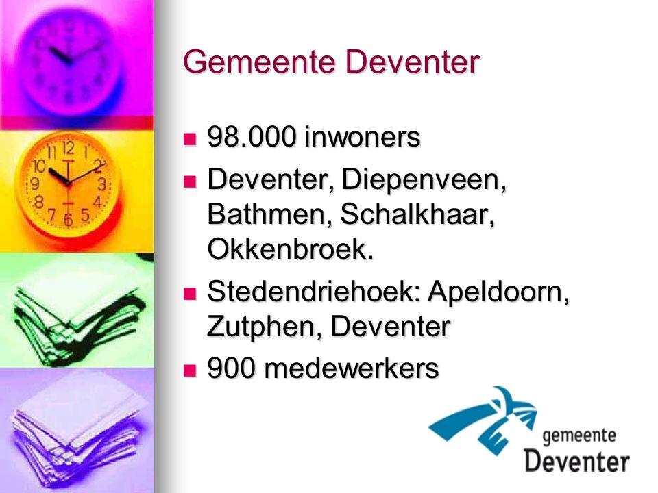Gemeente Deventer 98.000 inwoners 98.000 inwoners Deventer, Diepenveen, Bathmen, Schalkhaar, Okkenbroek. Deventer, Diepenveen, Bathmen, Schalkhaar, Ok