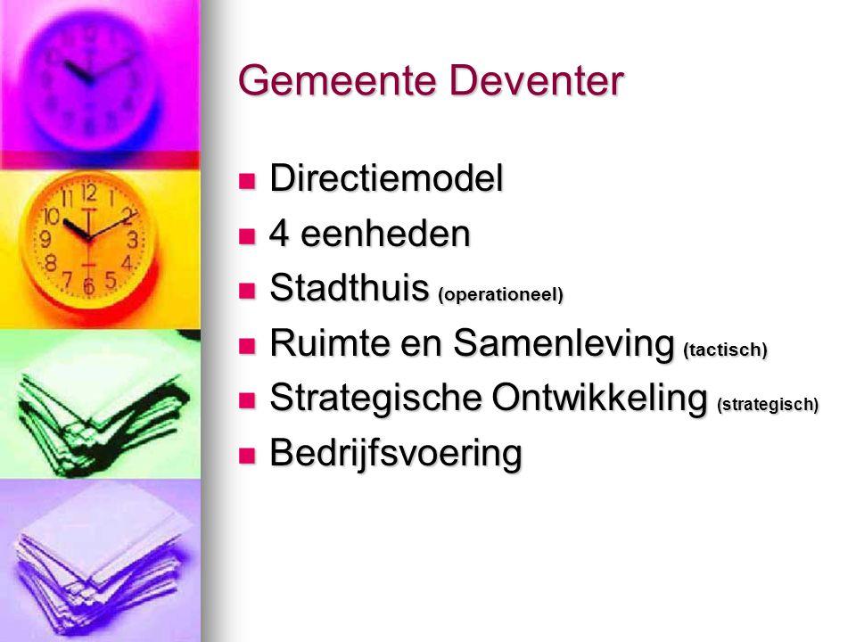 Gemeente Deventer Directiemodel Directiemodel 4 eenheden 4 eenheden Stadthuis (operationeel) Stadthuis (operationeel) Ruimte en Samenleving (tactisch)