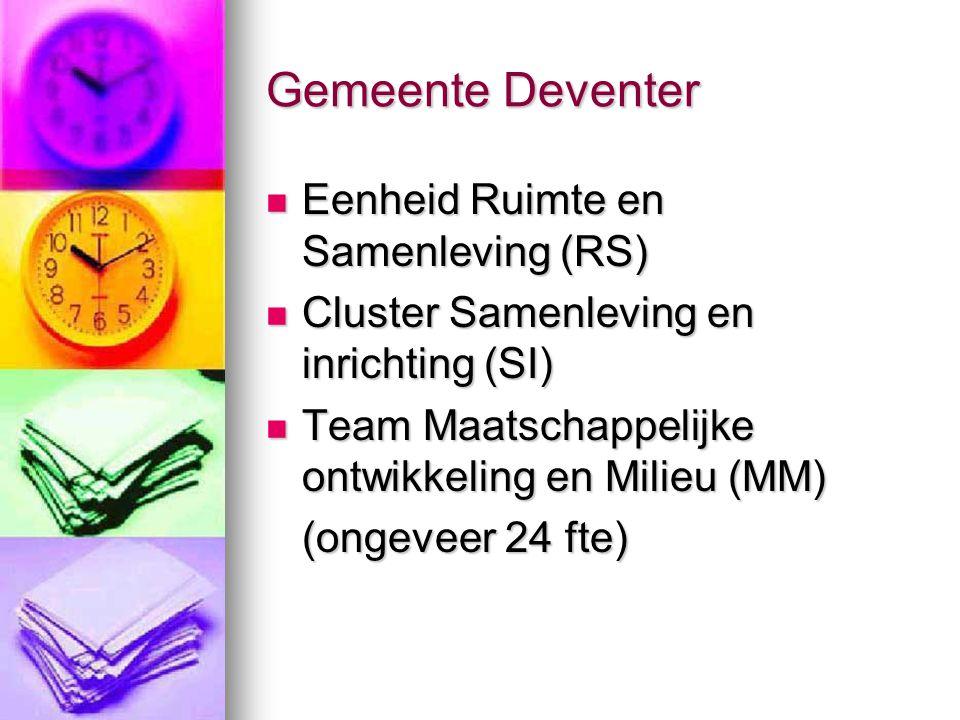 Gemeente Deventer Eenheid Ruimte en Samenleving (RS) Eenheid Ruimte en Samenleving (RS) Cluster Samenleving en inrichting (SI) Cluster Samenleving en