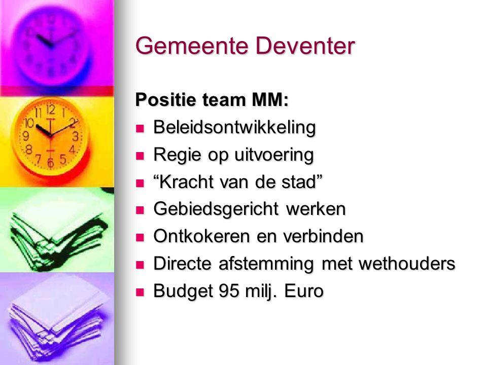 """Gemeente Deventer Positie team MM: Beleidsontwikkeling Beleidsontwikkeling Regie op uitvoering Regie op uitvoering """"Kracht van de stad"""" """"Kracht van de"""
