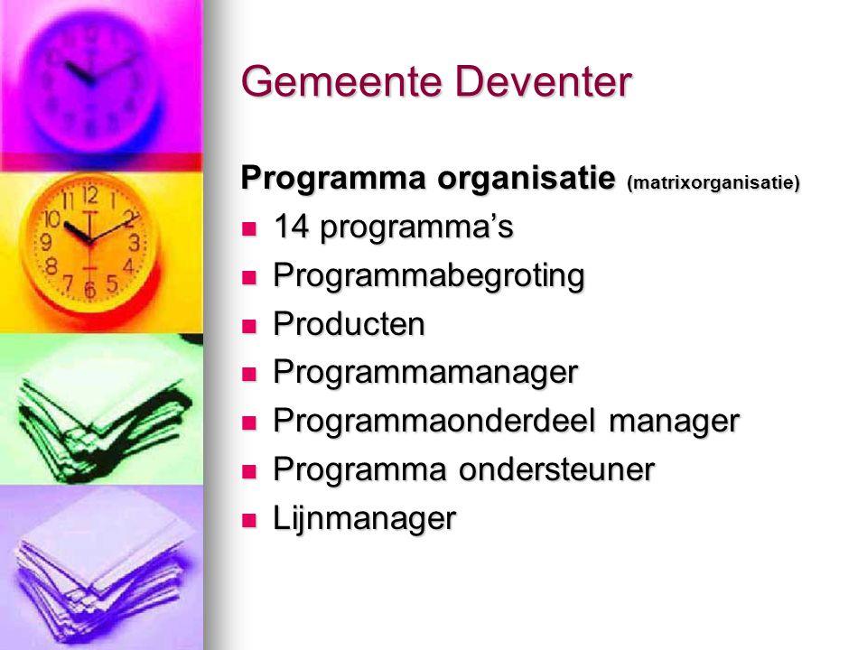Gemeente Deventer Programma organisatie (matrixorganisatie) 14 programma's 14 programma's Programmabegroting Programmabegroting Producten Producten Pr