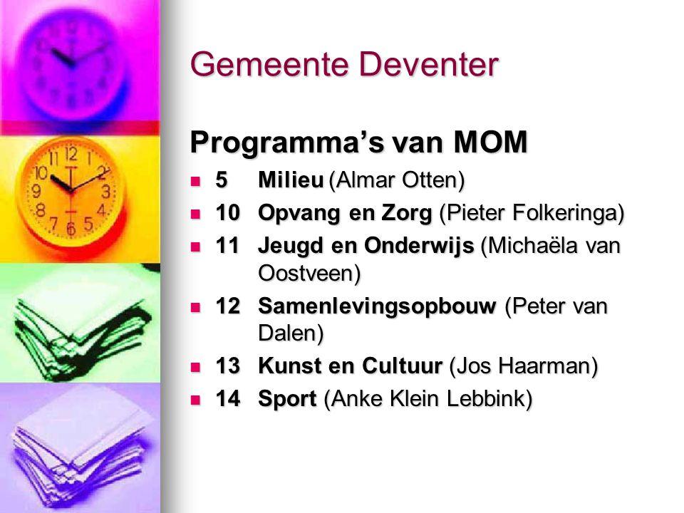 Gemeente Deventer Programma's van MOM 5 Milieu (Almar Otten) 5 Milieu (Almar Otten) 10Opvang en Zorg (Pieter Folkeringa) 10Opvang en Zorg (Pieter Folk