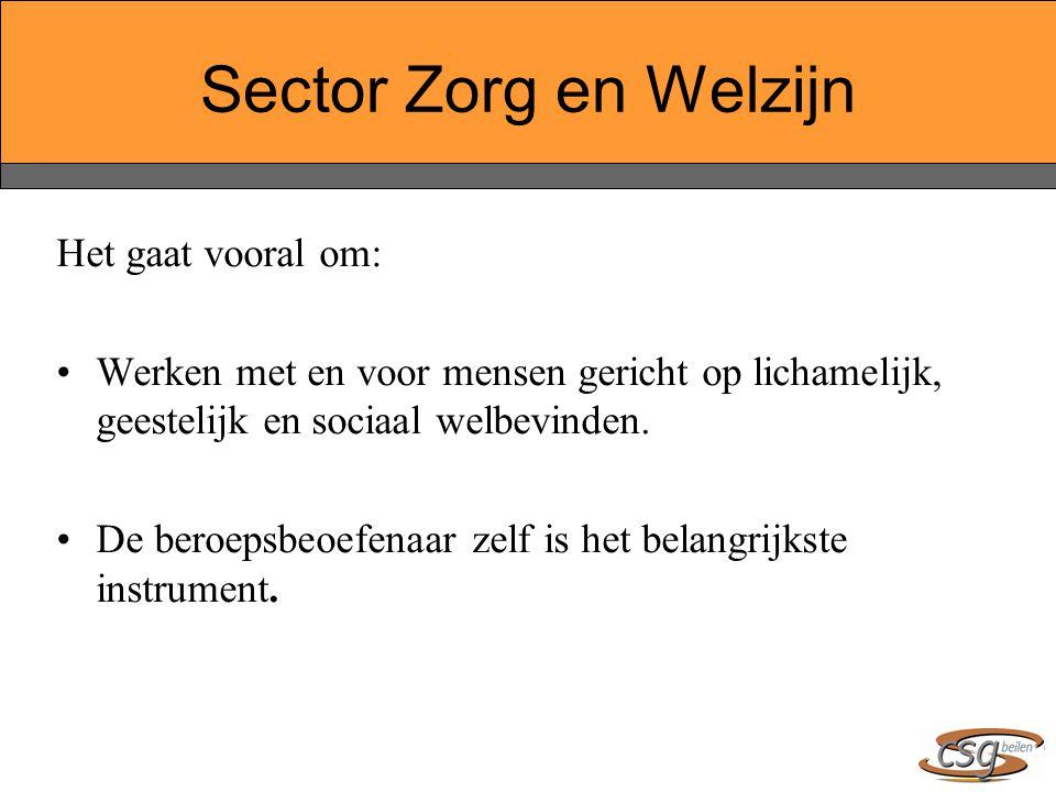 Sector Zorg en Welzijn Het gaat vooral om: Werken met en voor mensen gericht op lichamelijk, geestelijk en sociaal welbevinden. De beroepsbeoefenaar z