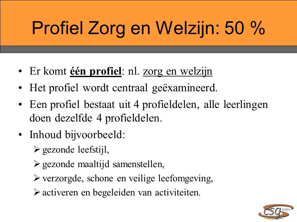 Er komt één profiel: nl.zorg en welzijn Het profiel wordt centraal geëxamineerd.