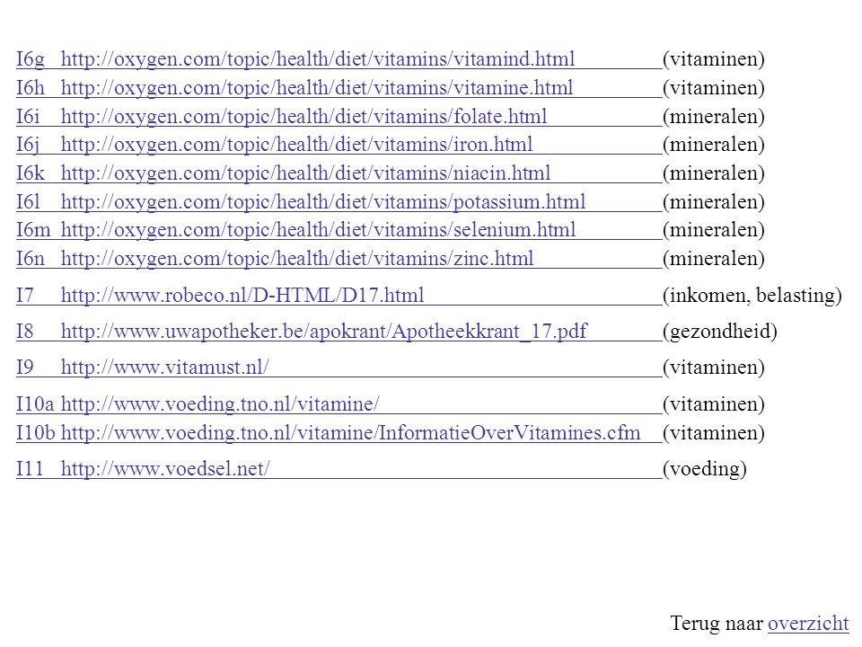  Internetpagina's I1http://dronten.flevoland.to/eten/vitamines.html#AI1http://dronten.flevoland.to/eten/vitamines.html#A(vitaminen) I2ahttp://www.eet