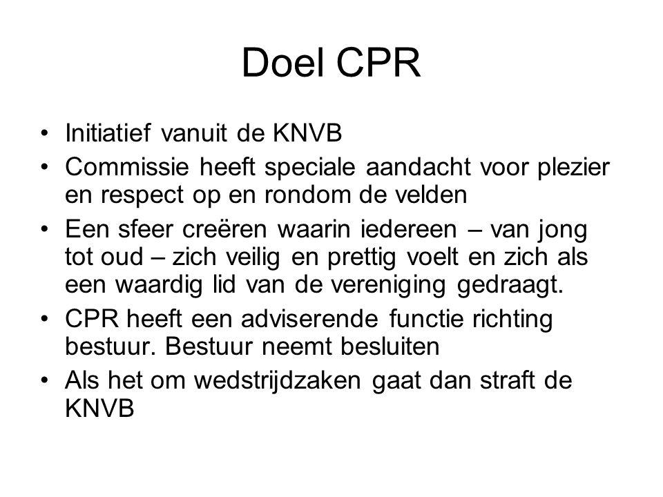 Doel CPR Initiatief vanuit de KNVB Commissie heeft speciale aandacht voor plezier en respect op en rondom de velden Een sfeer creëren waarin iedereen