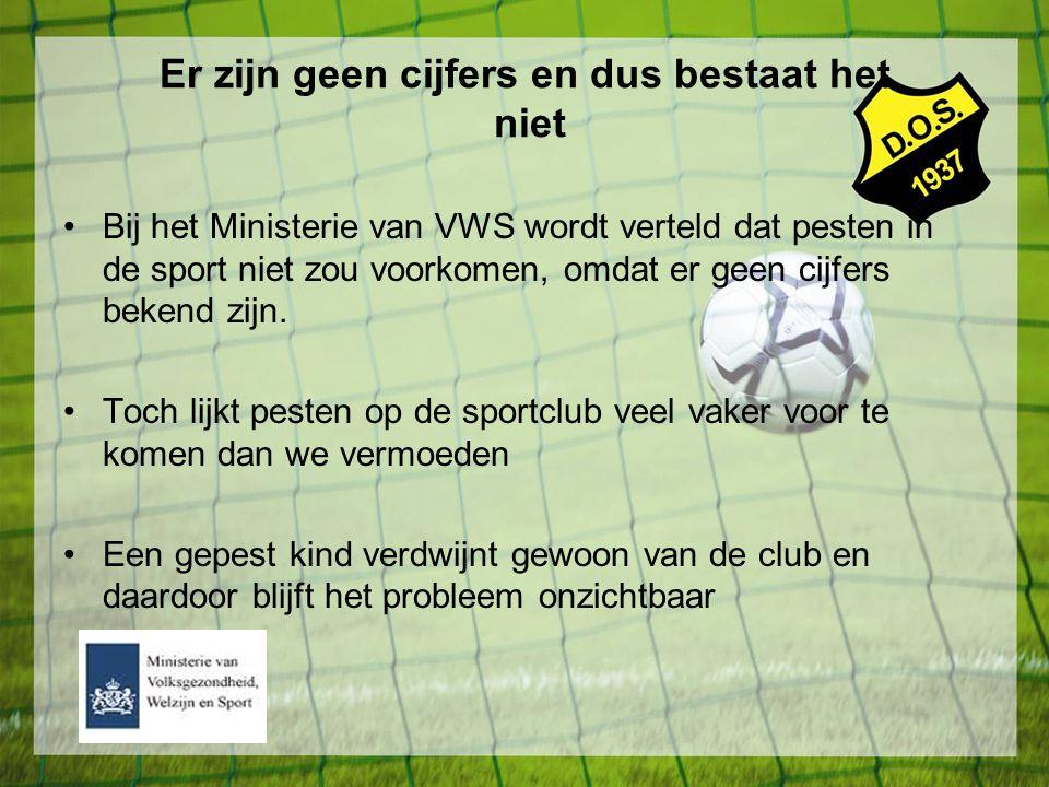 Er zijn geen cijfers en dus bestaat het niet Bij het Ministerie van VWS wordt verteld dat pesten in de sport niet zou voorkomen, omdat er geen cijfers
