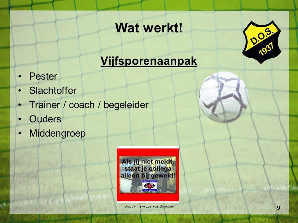 Wat werkt! Vijfsporenaanpak Pester Slachtoffer Trainer / coach / begeleider Ouders Middengroep Drs. Janneke Eustacia-Brinkman 9