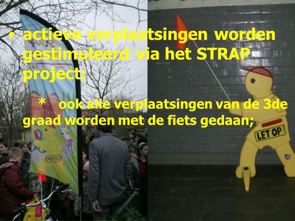 actieve verplaatsingen worden gestimuleerd via het STRAP project: * ook alle verplaatsingen van de 3de graad worden met de fiets gedaan;