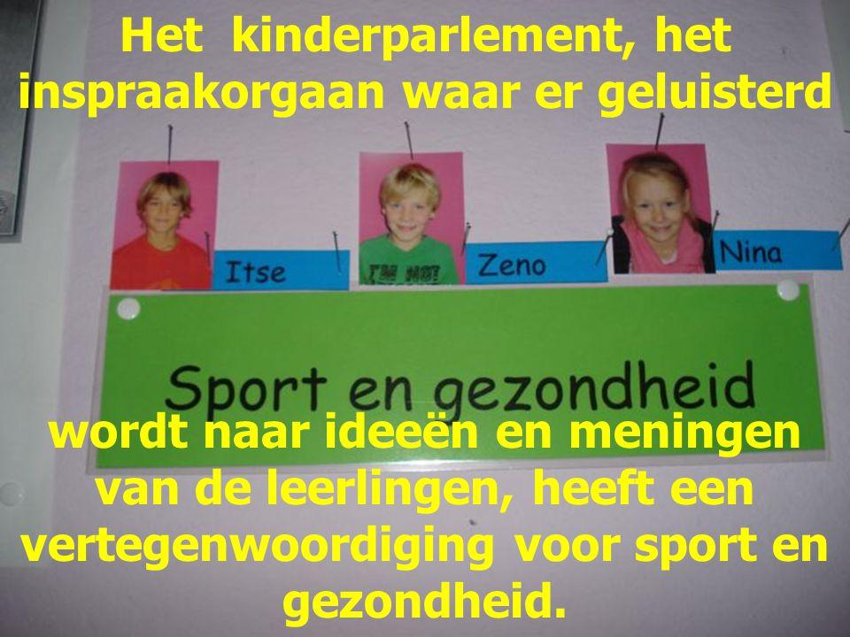 Het kinderparlement, het inspraakorgaan waar er geluisterd wordt naar ideeën en meningen van de leerlingen, heeft een vertegenwoordiging voor sport en