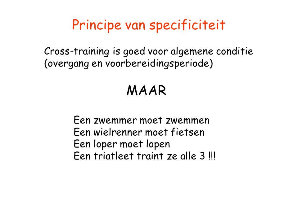 Principe van specificiteit Cross-training is goed voor algemene conditie (overgang en voorbereidingsperiode) MAAR Een zwemmer moet zwemmen Een wielren