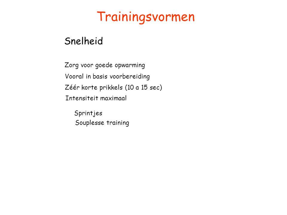 Trainingsvormen Snelheid Zorg voor goede opwarming Vooral in basis voorbereiding Zéér korte prikkels (10 a 15 sec) Sprintjes Souplesse training Intens
