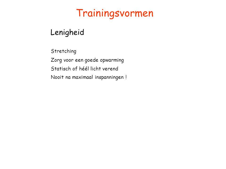 Trainingsvormen Lenigheid Stretching Zorg voor een goede opwarming Statisch of héél licht verend Nooit na maximaal inspanningen !