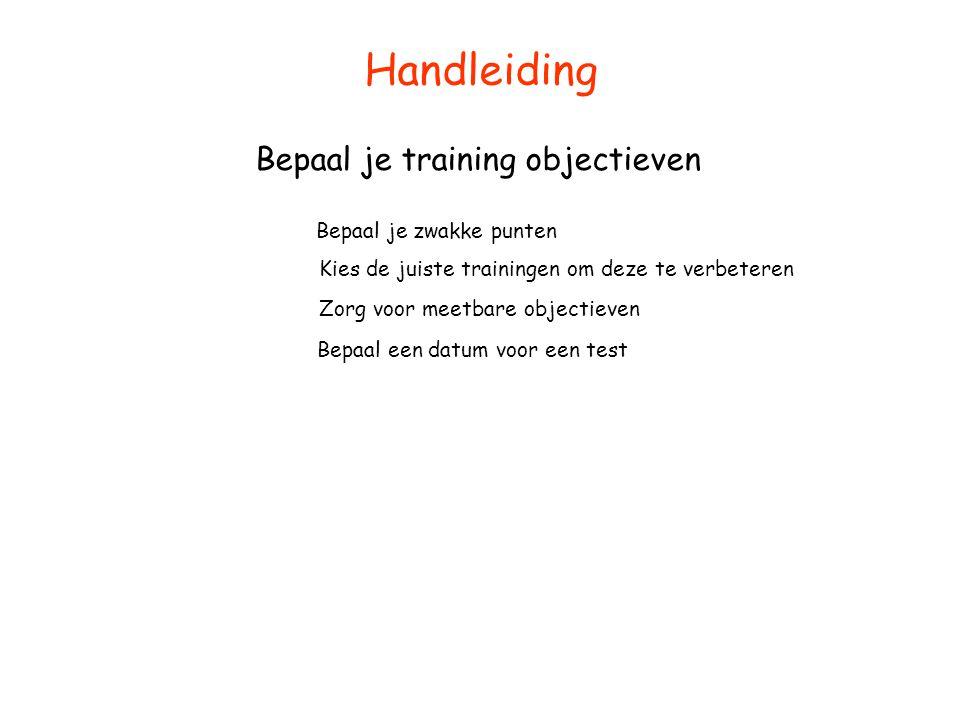 Handleiding Bepaal je training objectieven Bepaal je zwakke punten Kies de juiste trainingen om deze te verbeteren Zorg voor meetbare objectieven Bepa