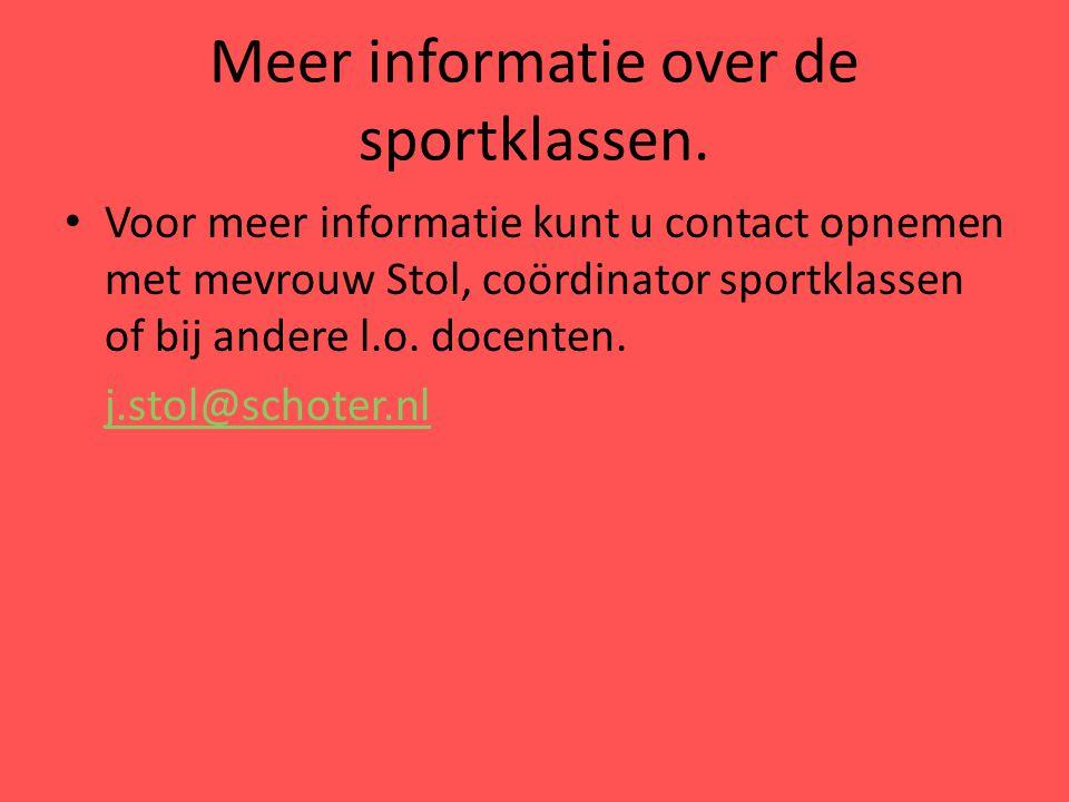 Meer informatie over de sportklassen.