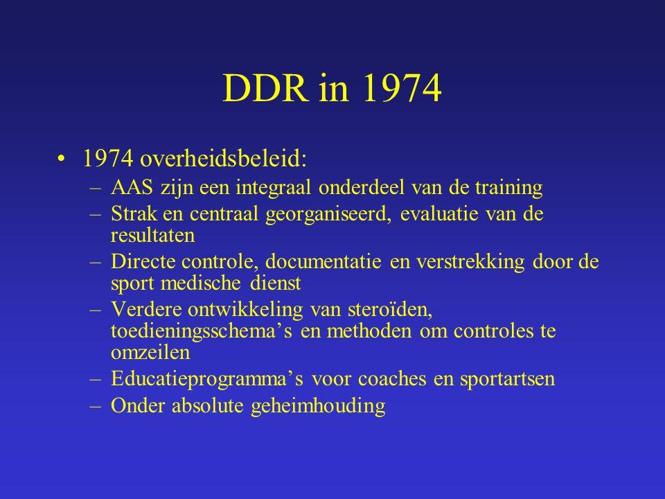 DDR in 1974 1974 overheidsbeleid: –AAS zijn een integraal onderdeel van de training –Strak en centraal georganiseerd, evaluatie van de resultaten –Dir
