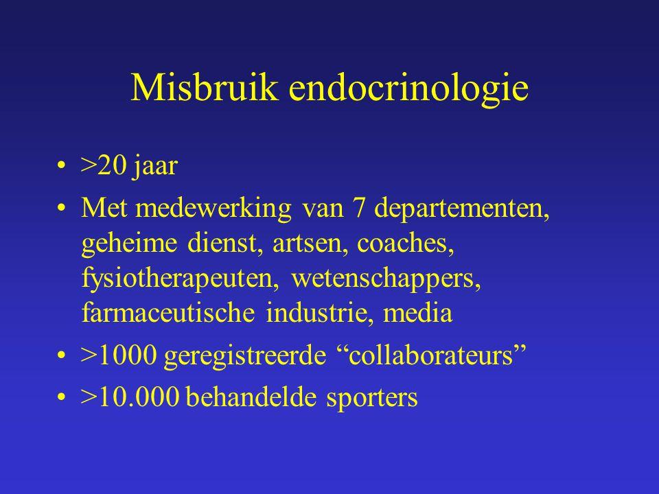 Misbruik endocrinologie >20 jaar Met medewerking van 7 departementen, geheime dienst, artsen, coaches, fysiotherapeuten, wetenschappers, farmaceutisch