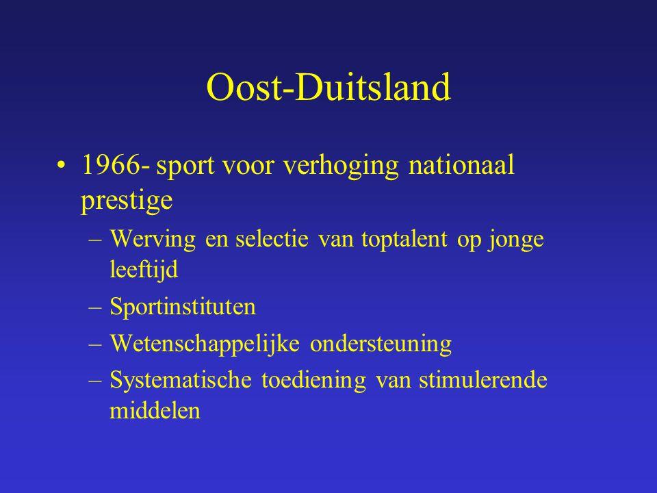 Oost-Duitsland 1966- sport voor verhoging nationaal prestige –Werving en selectie van toptalent op jonge leeftijd –Sportinstituten –Wetenschappelijke