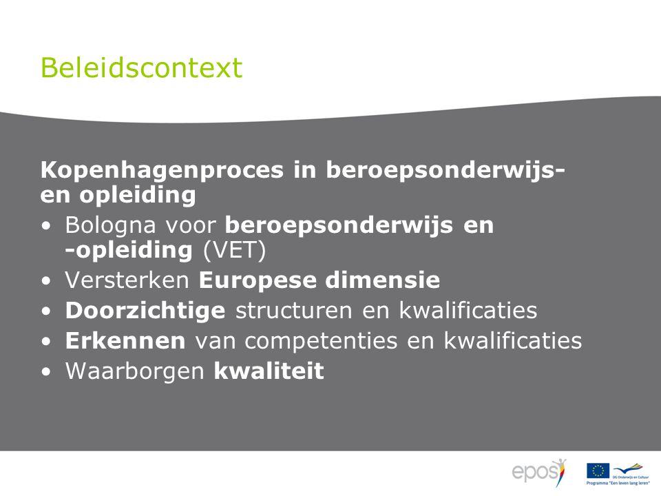 Beleidscontext Kopenhagenproces in beroepsonderwijs- en opleiding Bologna voor beroepsonderwijs en -opleiding (VET) Versterken Europese dimensie Doorzichtige structuren en kwalificaties Erkennen van competenties en kwalificaties Waarborgen kwaliteit