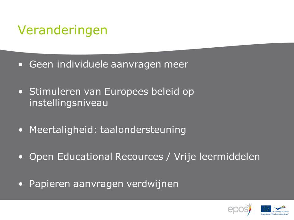 Veranderingen Geen individuele aanvragen meer Stimuleren van Europees beleid op instellingsniveau Meertaligheid: taalondersteuning Open Educational Recources / Vrije leermiddelen Papieren aanvragen verdwijnen