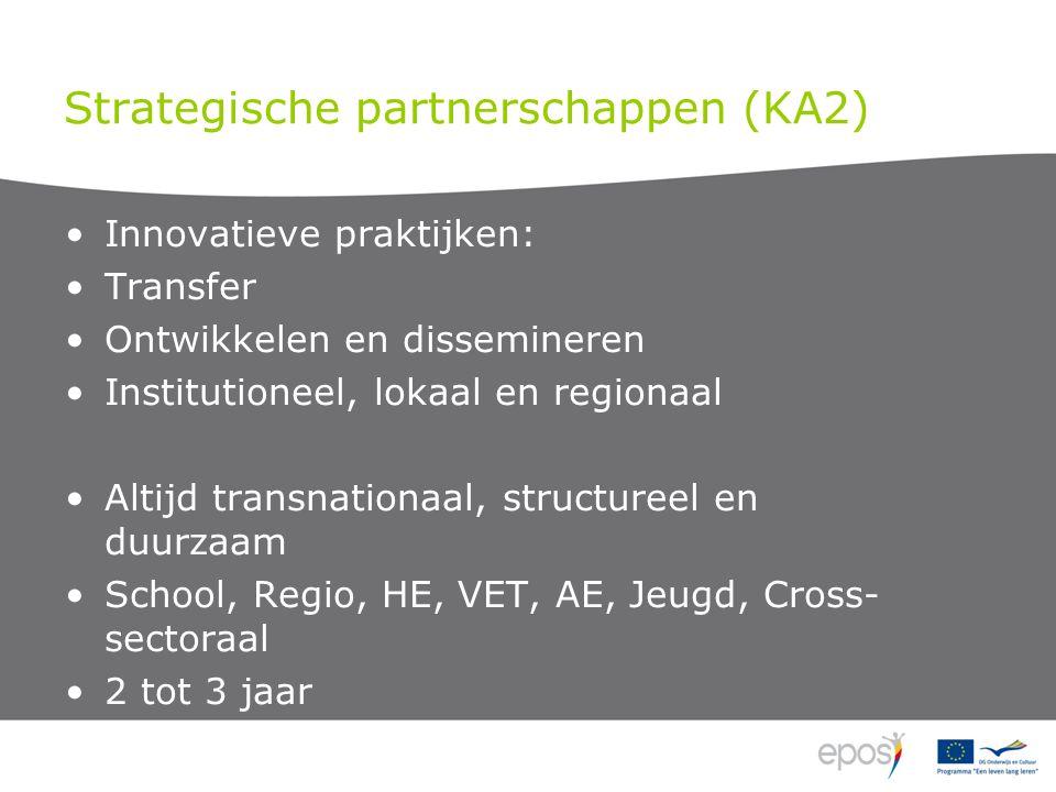 Strategische partnerschappen (KA2) Innovatieve praktijken: Transfer Ontwikkelen en dissemineren Institutioneel, lokaal en regionaal Altijd transnationaal, structureel en duurzaam School, Regio, HE, VET, AE, Jeugd, Cross- sectoraal 2 tot 3 jaar