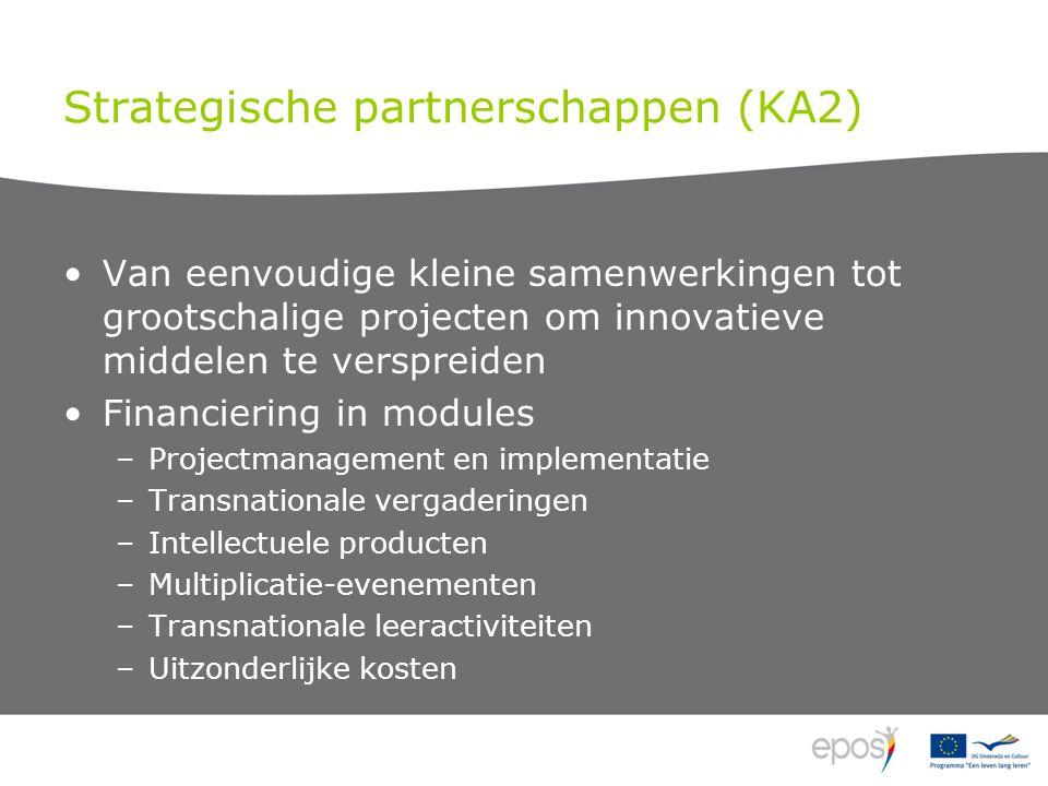 Strategische partnerschappen (KA2) Van eenvoudige kleine samenwerkingen tot grootschalige projecten om innovatieve middelen te verspreiden Financiering in modules –Projectmanagement en implementatie –Transnationale vergaderingen –Intellectuele producten –Multiplicatie-evenementen –Transnationale leeractiviteiten –Uitzonderlijke kosten