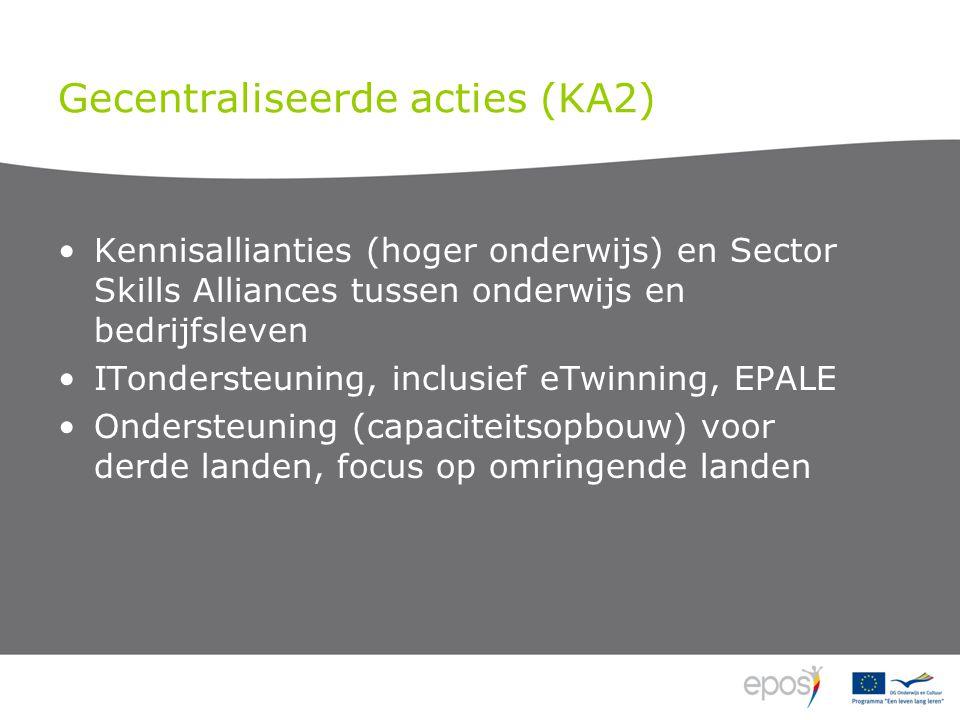 Gecentraliseerde acties (KA2) Kennisallianties (hoger onderwijs) en Sector Skills Alliances tussen onderwijs en bedrijfsleven ITondersteuning, inclusief eTwinning, EPALE Ondersteuning (capaciteitsopbouw) voor derde landen, focus op omringende landen