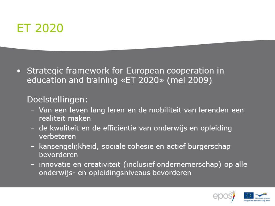 ET 2020 Strategic framework for European cooperation in education and training «ET 2020» (mei 2009) Doelstellingen: –Van een leven lang leren en de mobiliteit van lerenden een realiteit maken –de kwaliteit en de efficiëntie van onderwijs en opleiding verbeteren –kansengelijkheid, sociale cohesie en actief burgerschap bevorderen –innovatie en creativiteit (inclusief ondernemerschap) op alle onderwijs- en opleidingsniveaus bevorderen