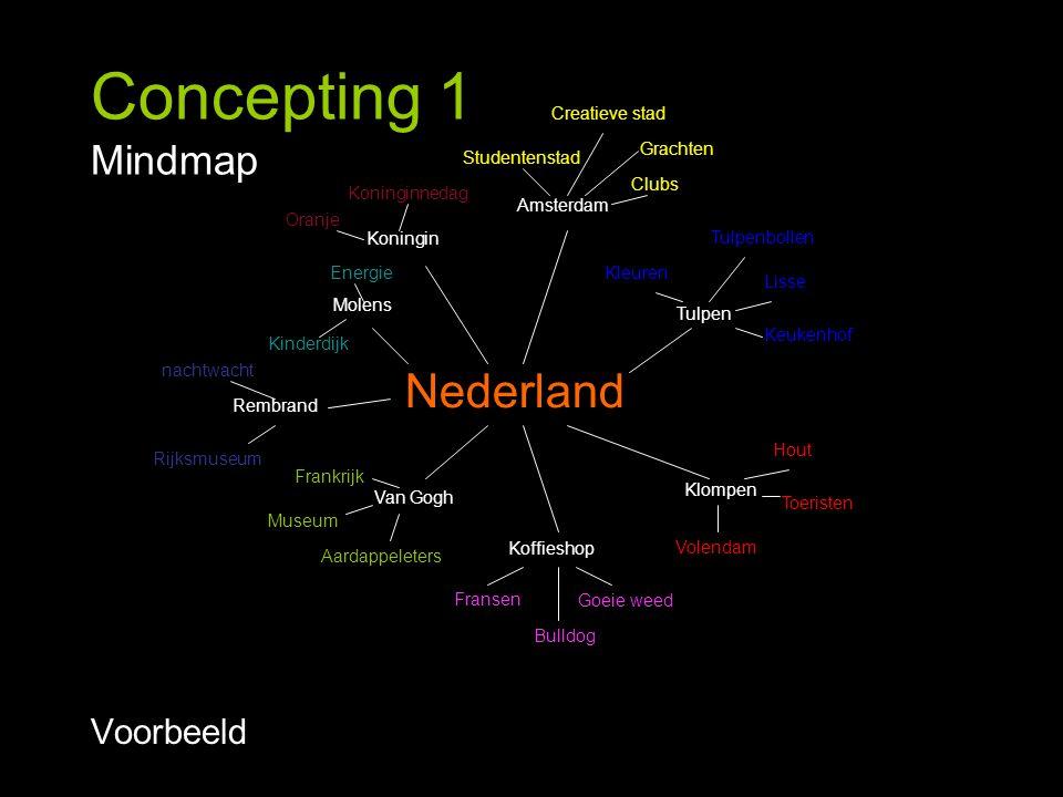 Concepting 1 Mindmap Voorbeeld Klompen Tulpen Molens Van Gogh Rembrand Koffieshop Amsterdam Koningin Nederland Grachten Creatieve stad Studentenstad C