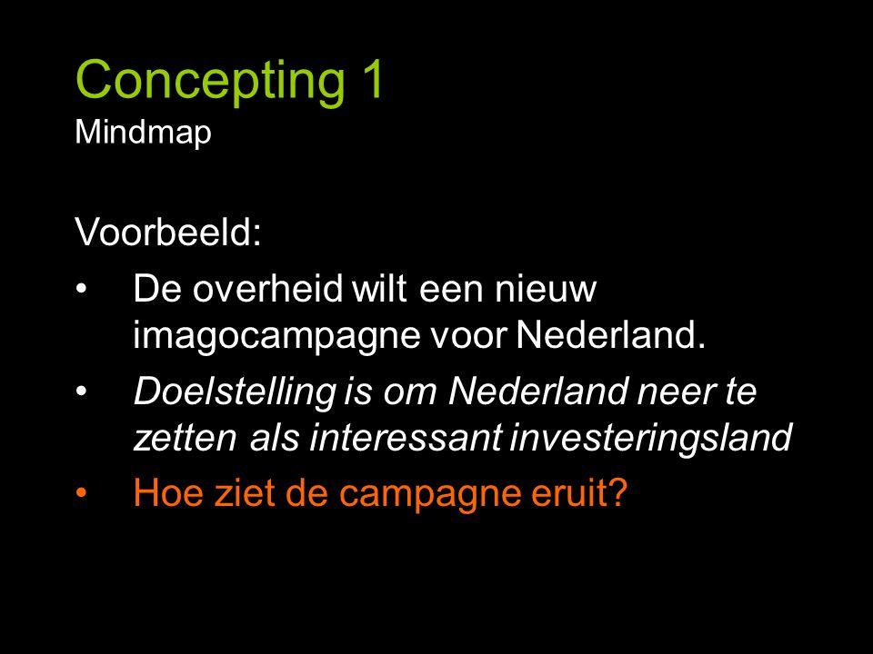 Concepting 1 Mindmap Voorbeeld: De overheid wilt een nieuw imagocampagne voor Nederland. Doelstelling is om Nederland neer te zetten als interessant i