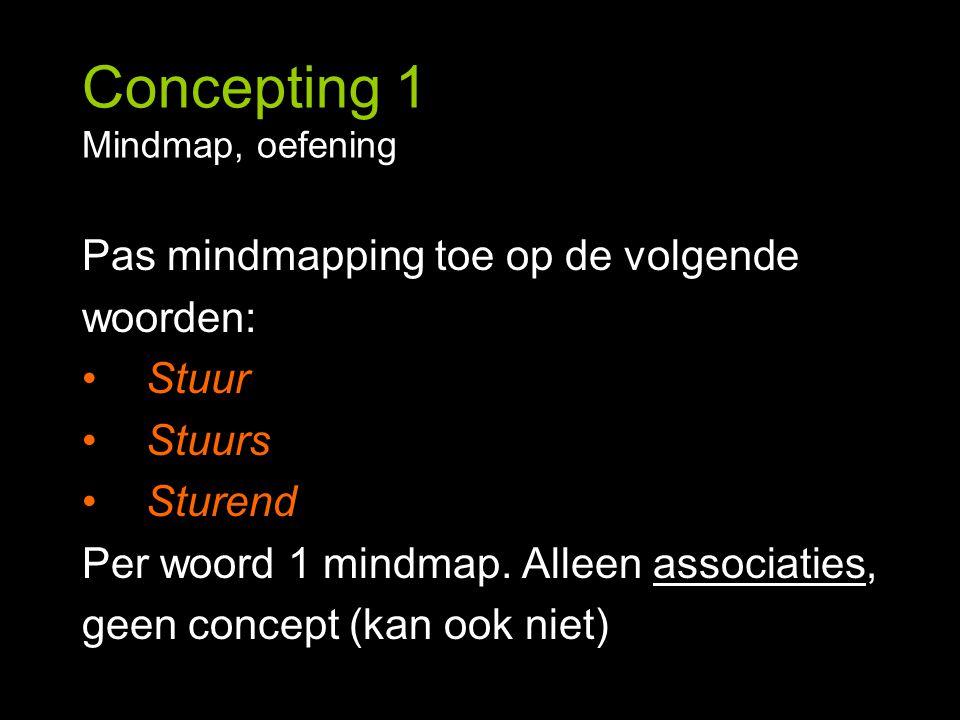 Concepting 1 Mindmap, oefening Pas mindmapping toe op de volgende woorden: Stuur Stuurs Sturend Per woord 1 mindmap. Alleen associaties, geen concept
