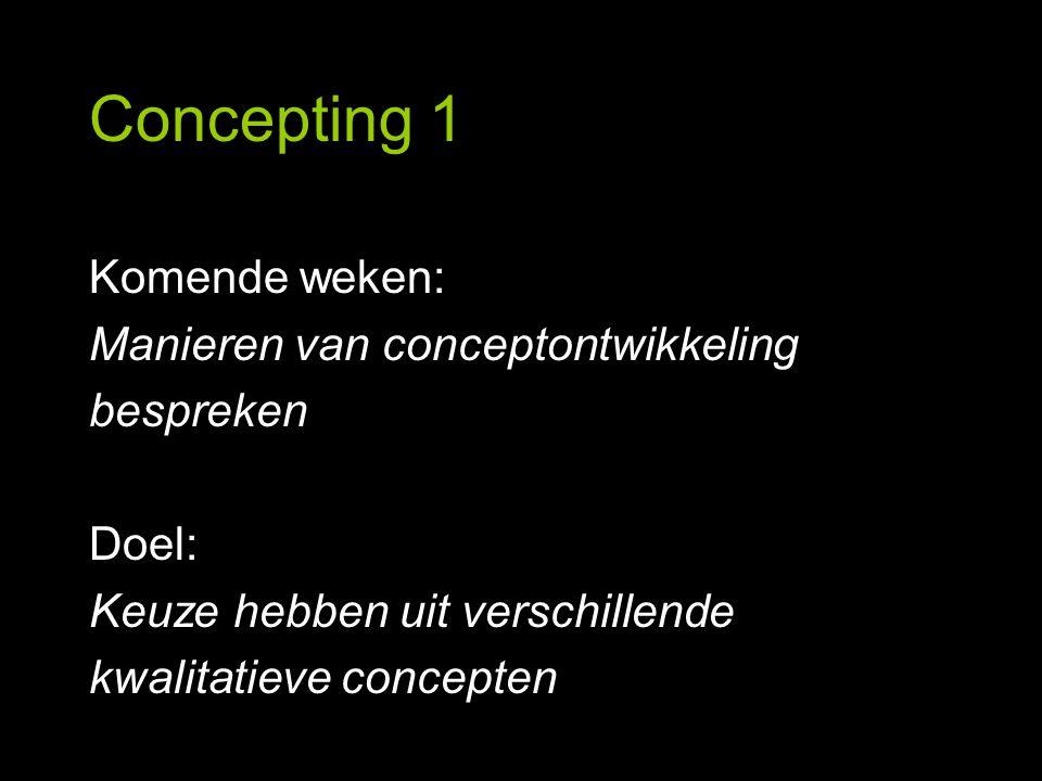 Concepting 1 Conceptmap Nederland Energie besparen Licht uit Hybride rijden Te beginnen met Aardolieonafhankelijk Trein Lopen Fietsen Green car Door menselijke inspanning Openbaar vervoer In en rond Woon-werk Energiezuinige apparaten Voorbeeld: 'Nederland, aardolie onafhankelijk'