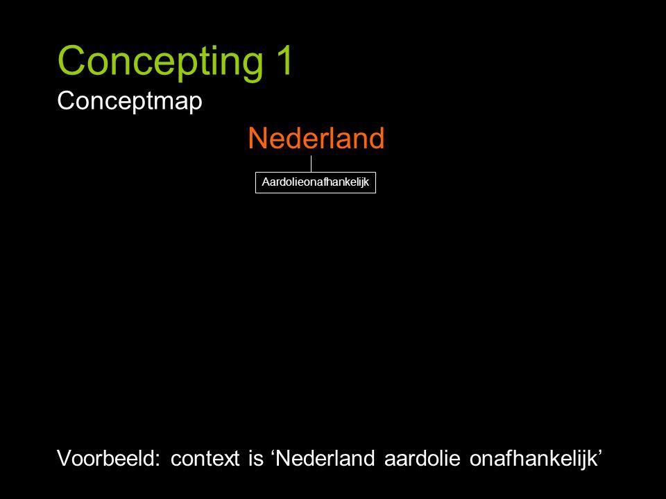 Concepting 1 Conceptmap Voorbeeld: context is 'Nederland aardolie onafhankelijk' Nederland Aardolieonafhankelijk