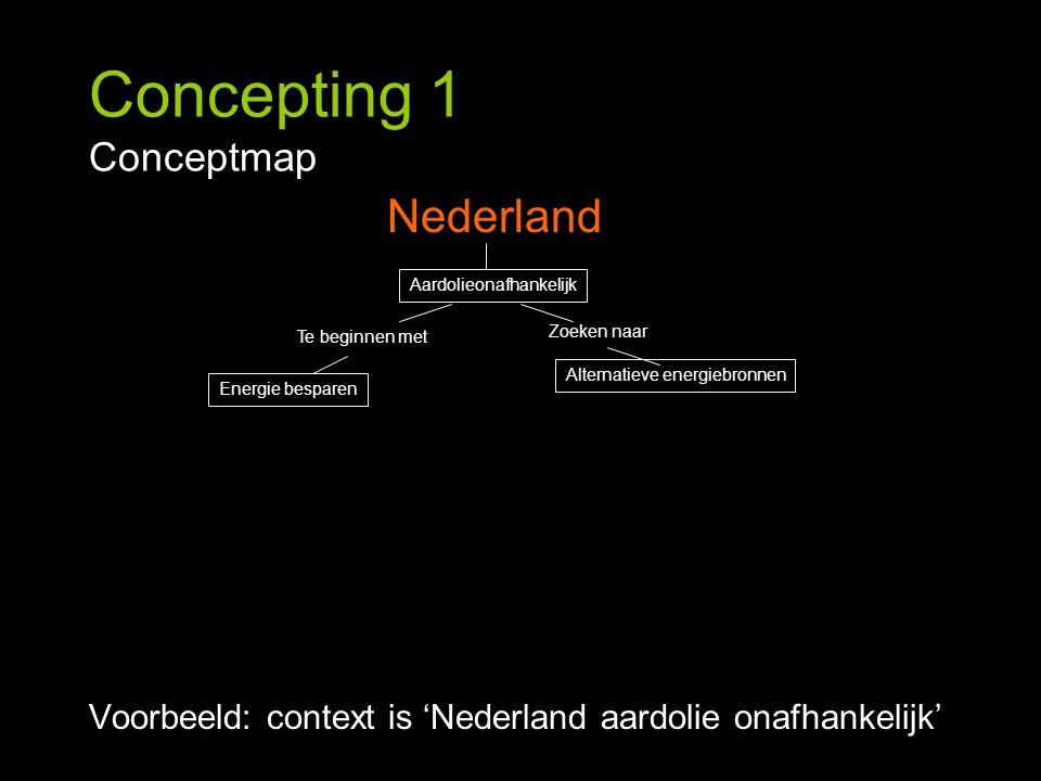 Concepting 1 Conceptmap Voorbeeld: context is 'Nederland aardolie onafhankelijk' Nederland Energie besparen Alternatieve energiebronnen Te beginnen me