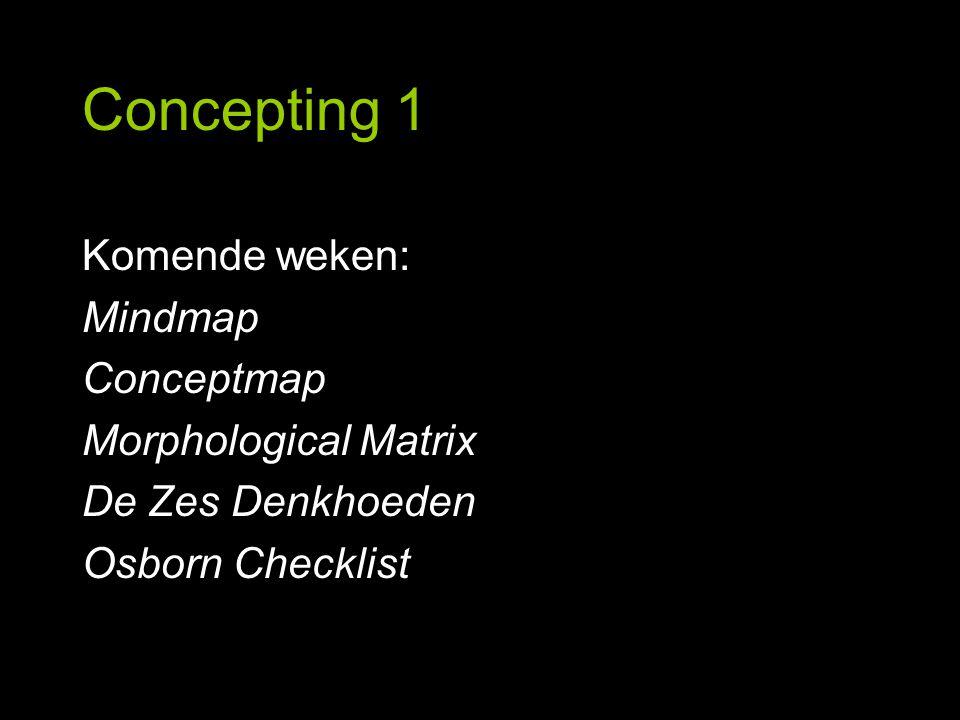 Concepting 1 Mindmap, oefening Pas mindmapping toe op de volgende woorden: Stuur Stuurs Sturend Per woord 1 mindmap.