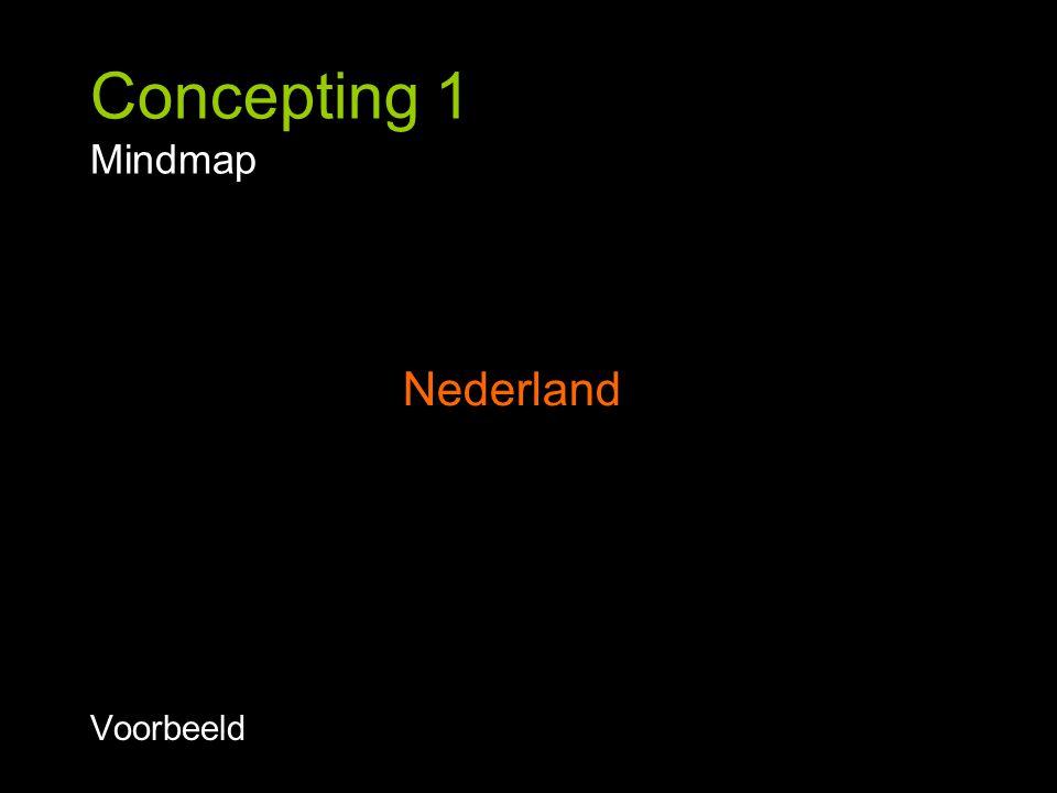 Concepting 1 Mindmap Checklist voorbeeld: Abstract - Concreet Synoniem - Antoniem Goed - Slecht Verleden – Toekomst Etc.