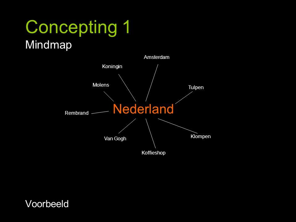 Concepting 1 Mindmap Voorbeeld Klompen Tulpen Molens Van Gogh Rembrand Koffieshop Amsterdam Koningin Nederland