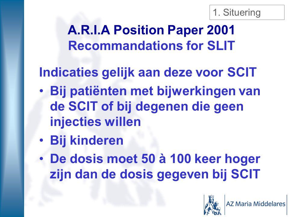 A.R.I.A Position Paper 2001 Recommandations for SLIT Indicaties gelijk aan deze voor SCIT Bij patiënten met bijwerkingen van de SCIT of bij degenen di