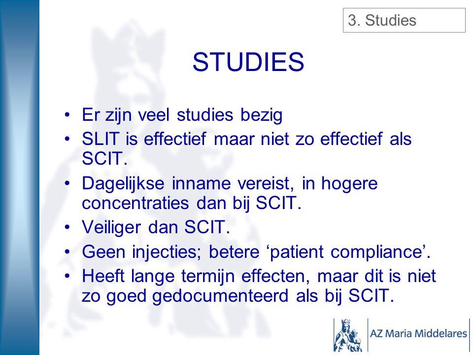STUDIES Er zijn veel studies bezig SLIT is effectief maar niet zo effectief als SCIT. Dagelijkse inname vereist, in hogere concentraties dan bij SCIT.