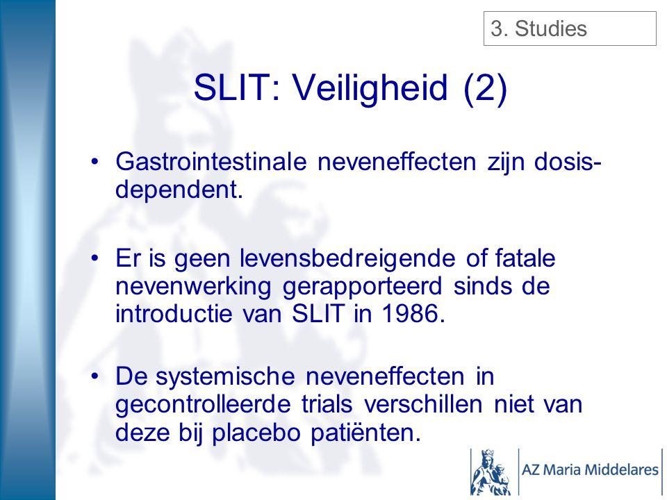 Gastrointestinale neveneffecten zijn dosis- dependent. Er is geen levensbedreigende of fatale nevenwerking gerapporteerd sinds de introductie van SLIT