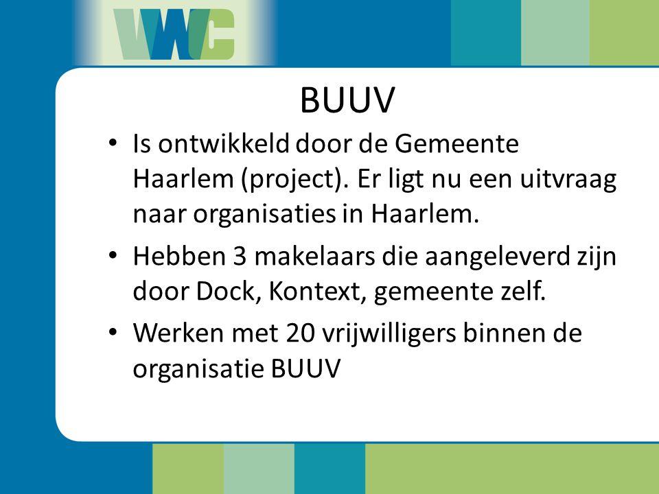 BUUV Is ontwikkeld door de Gemeente Haarlem (project). Er ligt nu een uitvraag naar organisaties in Haarlem. Hebben 3 makelaars die aangeleverd zijn d