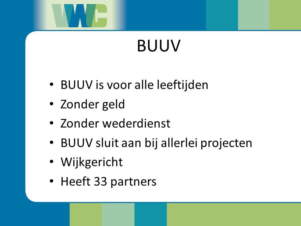 BUUV BUUV is voor alle leeftijden Zonder geld Zonder wederdienst BUUV sluit aan bij allerlei projecten Wijkgericht Heeft 33 partners