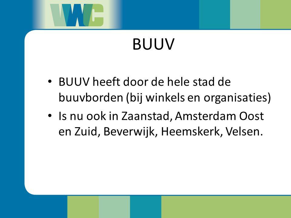 BUUV BUUV heeft door de hele stad de buuvborden (bij winkels en organisaties) Is nu ook in Zaanstad, Amsterdam Oost en Zuid, Beverwijk, Heemskerk, Vel