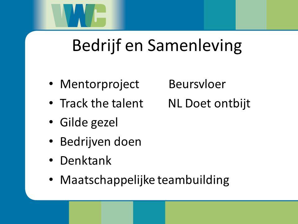 Bedrijf en Samenleving Mentorproject Beursvloer Track the talentNL Doet ontbijt Gilde gezel Bedrijven doen Denktank Maatschappelijke teambuilding