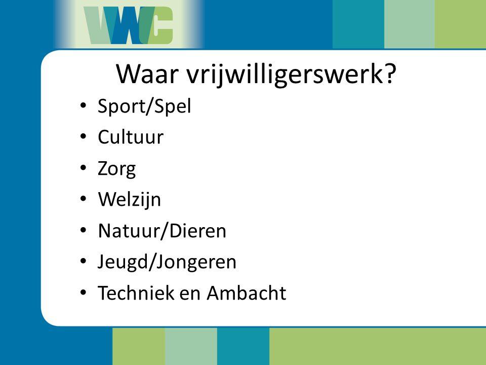 Waar vrijwilligerswerk? Sport/Spel Cultuur Zorg Welzijn Natuur/Dieren Jeugd/Jongeren Techniek en Ambacht
