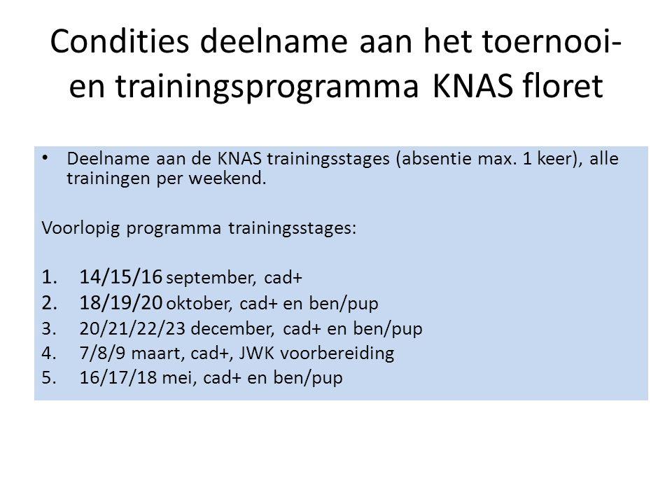Condities deelname aan het toernooi- en trainingsprogramma KNAS floret Deelname aan de KNAS trainingsstages (absentie max.