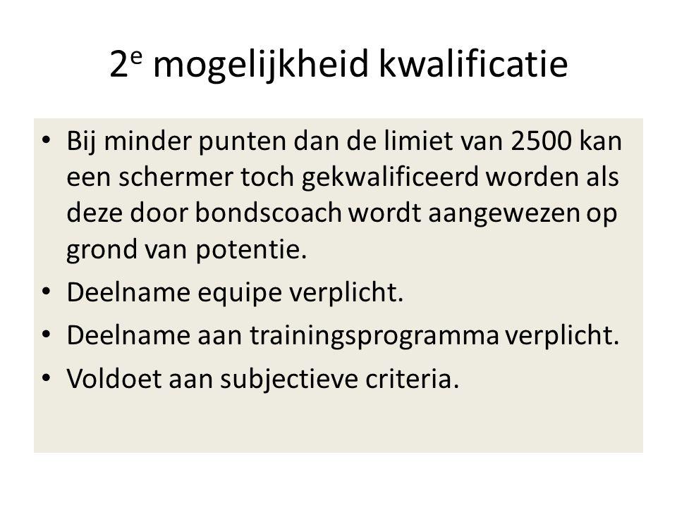 2 e mogelijkheid kwalificatie Bij minder punten dan de limiet van 2500 kan een schermer toch gekwalificeerd worden als deze door bondscoach wordt aangewezen op grond van potentie.