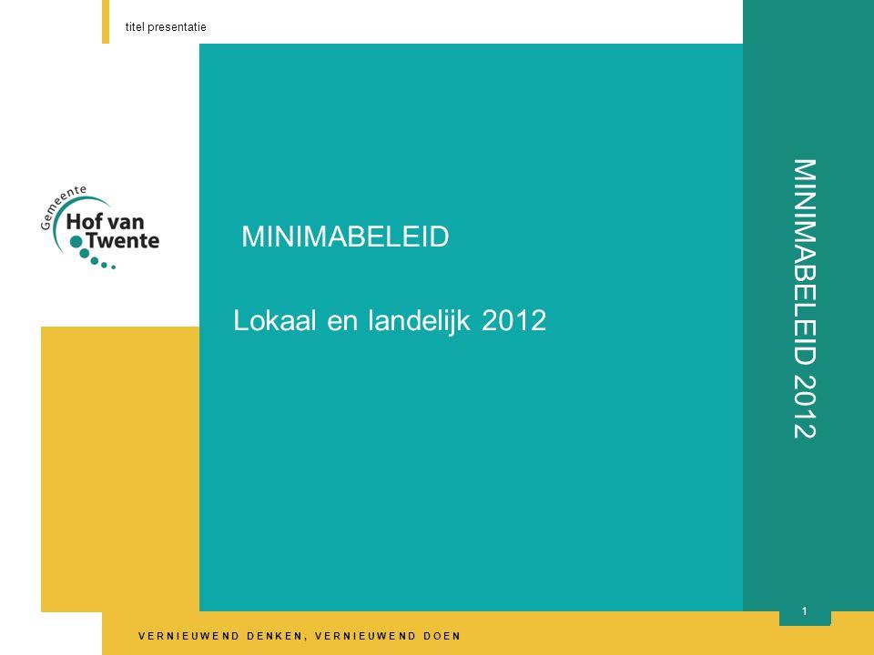 V E R N I E U W E N D D E N K E N, V E R N I E U W E N D D O E N titel presentatie 12 MINIMABELEID 2012 Loondispensatie Werken tegen loonwaarde Werkgever betaalt 60 % Gemeente vult aan 40 %