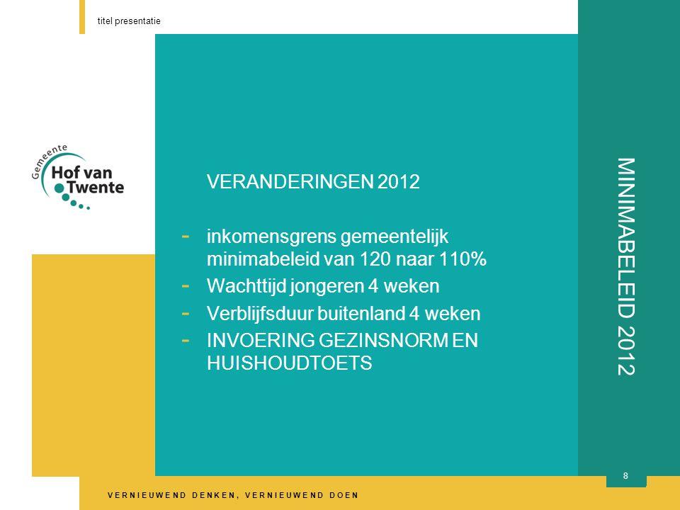 V E R N I E U W E N D D E N K E N, V E R N I E U W E N D D O E N titel presentatie 9 MINIMABELEID 2012 Echtparennorm is gezinsnorm € 1330 netto per maand Alle inkomens van gezinsleden tellen mee, m.u.v.